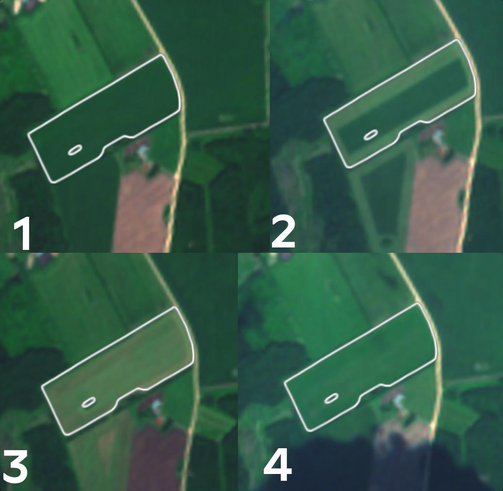 Pria foto: Kuidas näeb rohumaade hooldamine välja Sentinel-2 satelliidipildil juunis